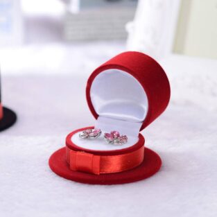 מתנה קופסת אריזה מהודרת לעגילים או טבעת עיצוב כובע אדום