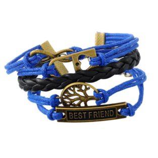 תכשיט למסיבת רווקות צמיד כחול שחור מעוטר בסמלים: לב, עץ החיים וחבר הכי טוב