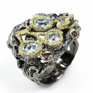 תכשיט לכלה ולערב: טבעת בשיבוץ טופז כחול גרנט ואמטיסט תכשיט יוקרה עבודת יד