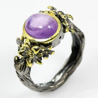 תכשיט לכלה ולערב: טבעת בשיבוץ אבן אמטיסט ליטוש קבושון תכשיט יוקרה עבודת יד