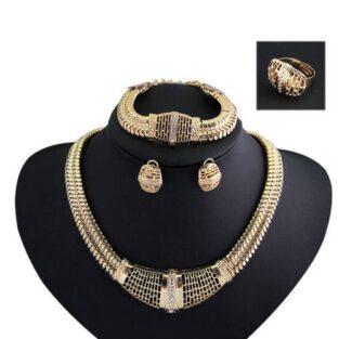 סט לכלה ולערב: שרשרת צמיד עגילים וטבעת גולדפילד בשיבוץ קריסטלים