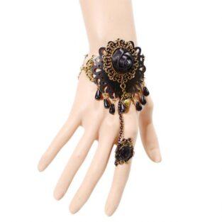 תכשיט ערב : צמיד וטבעת תחרה שחורה קישוט ברונזה