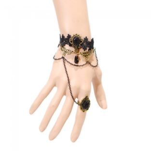 תכשיט ערב : צמיד וטבעת תחרה שחורה קישוט ברונזה עדין