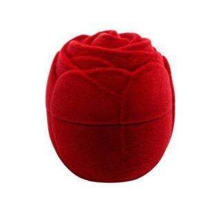 קופסת תכשיטים קטיפה אדומה עיצוב שושנה