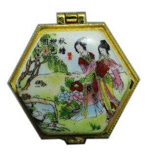 קופסת תכשיטים פורצלן משושה איורים סיניים
