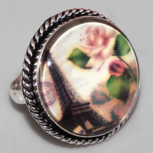 טבעת ערב: עיצוב וינטיג' כסף 925 עיטור ורדים מידה 10