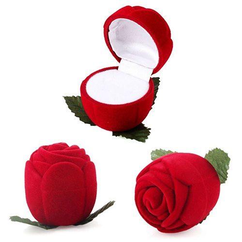 קופסת תכשיטים מהודרת קטיפה עיצוב ורד ועלים בתחתית
