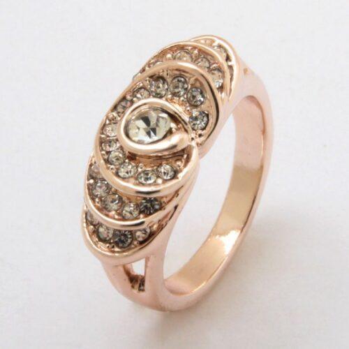 תכשיט לחינה ומסיבת רווקות: טבעת גולדפילד זהב אדום בשיבוץ קריסטלים