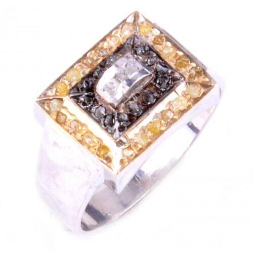 לכלה ולערב: טבעת כסף 925 בשיבוץ יהלומי גלם זהובים ולבנים 0.80 קרט וזירקון לבן מידה: 9