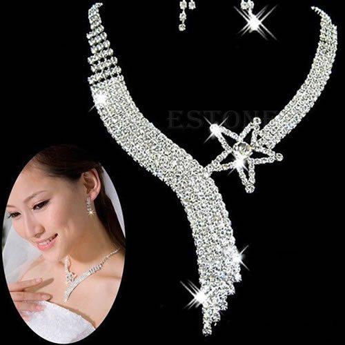 תכשיט לכלה ולערב: שרשרת ועגילים מוכסף בשיבוץ קריסטלים עיצוב כוכב