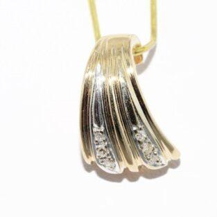 תכשיט זהב לכלה: תליון זהב צהוב 14 קרט בשיבוץ 6 יהלומים