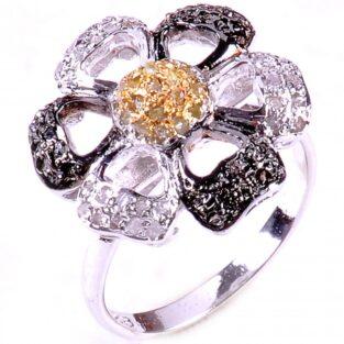 תכשיט לכלה ולערב: טבעת כסף בשיבוץ יהלומי גלם לבנים ויהלומי גלם זהובים מידה: 7.5