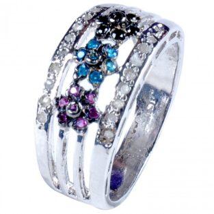 תכשיט לכלה ולערב: טבעת כסף בשיבוץ יהלומי גלם וזירקונים מידה: 7