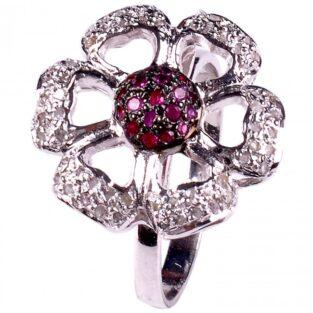 תכשיט לכלה ולערב: טבעת כסף בשיבוץ יהלומי גלם וזירקונים אדום מידה:7.5