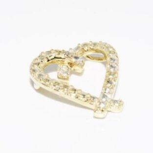 תכשיט זהב לכלה: תליון לב זהב בשיבוץ יהלום