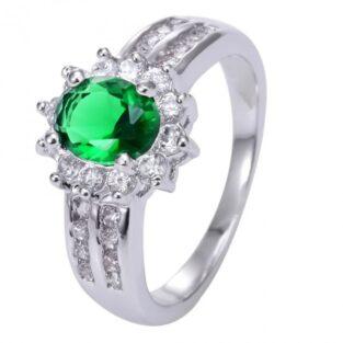 תכשיט לכלה ולערב: טבעת כסף בשיבוץ אמרלד וזירקונים מידה: 8