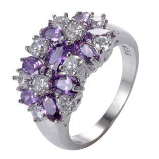 תכשיט לכלה ולערב: טבעת כסף בשיבוץ אמטיסט וזירקונים מידה: 11