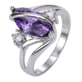 תכשיט לכלה ולערב: טבעת כסף בשיבוץ אמטיסט מידה: 8
