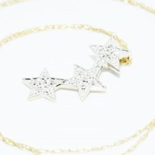תכשיט זהב לכלה: תליון ושרשרת זהב צהוב ולבן בשיבוץ 2 יהלומים