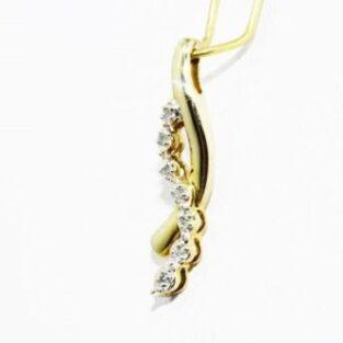 תכשיט לכלה ולערב: תליון זהב צהוב בשיבוץ 7 יהלומים