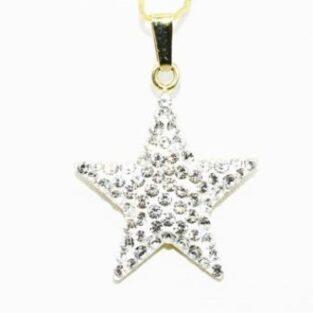 תכשיט לכלה ולערב: תליון זהב צהוב 14 קרט משובץ באבני קריסטל 1 קרט עיצוב כוכב