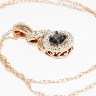 תכשיט לכלה ולערב: שרשרת ותליון זהב אדום 10 קרט בשיבוץ יהלום שחור ויהלומים לבנים