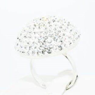 תכשיט לכלה ולערב: טבעת כסף בשיבוץ אבני קריסטל מידה: 6.5