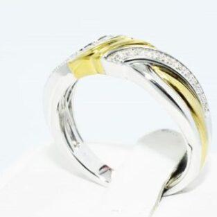 תכשיט לכלה ולערב: טבעת כסף וציפוי זהב בשיבוץ יהלומים לבנים מידה: 10.25