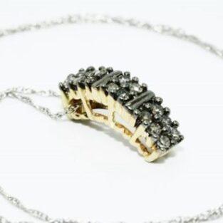 תכשיט לכלה ולערב: שרשרת זהב לבן 14 קרט תליון זהב צהוב 14 קרט בשיבוץ יהלומים