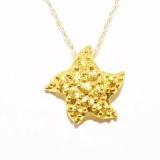 תכשיט לכלה ולערב: שרשרת ותליון זהב צהוב בשיבוץ אבני ספיר צהוב