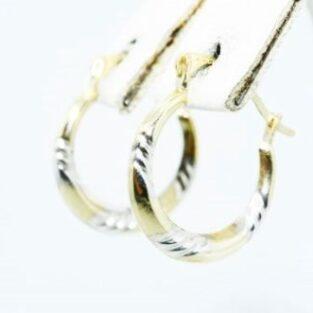 תכשיט לכלה ולערב: עגילי זהב צהוב ולבן 10 קרט עיצוב חישוק
