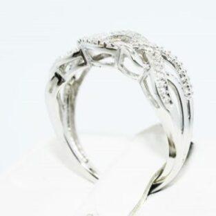 תכשיט לכלה ולערב: טבעת יוקרה כסף בשיבוץ יהלומים לבנים מידה: 7.25