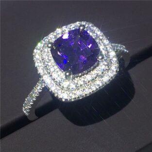 תכשיט לכלה ולערב: טבעת כסף בשיבוץ אמטיסט וטופז לבן מידה: 7