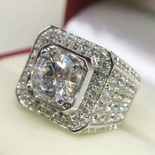 תכשיט לכלה ולערב: טבעת בשיבוץ טופז לבן מידה: 7