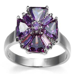 תכשיט לכלה ולערב: טבעת בשיבוץ אבני אמטיסט מידה 7