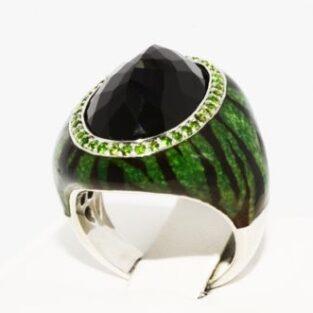תכשיט לכלה ולערב: טבעת יוקרה כסף בשיבוץ אוניקס ודיופסיד מידה: 7.25