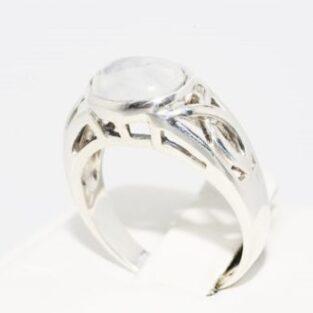 תכשיט לכלה ולערב: טבעת כסף 925 בשיבוץ מונסטון מידה: 8.25
