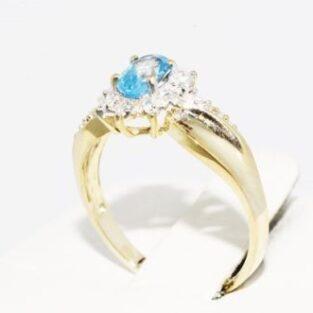 תכשיט לכלה ולערב: טבעת זהב צהוב בשיבוץ טופז כחול ויהלומים מידה: 6.25