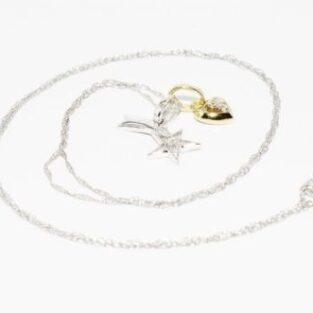 תכשיט לכלה ולערב: שרשרת ותליון זהב לבן וצהוב בשיבוץ כוכב זהב לבן ולב זהב צהוב ויהלומים