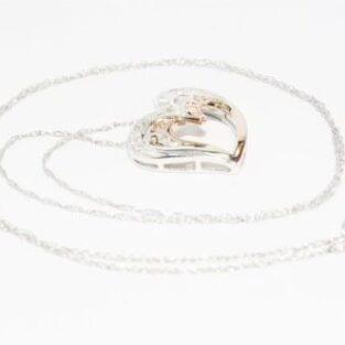 תכשיט לכלה ולערב: שרשרת זהב לבן ותליון לב זהב לבן וצהוב בשיבוץ יהלומים 45 קרט