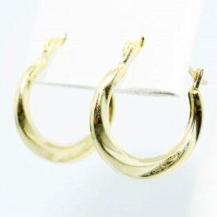 תכשיט לכלה ולערב: עגילי זהב צהוב 14 קרט עיצוב חישוק