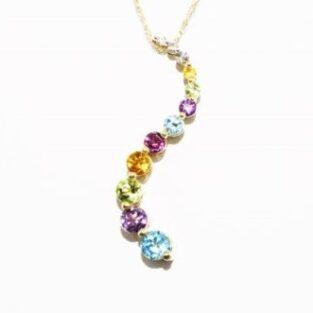 תכשיט לכלה ולערב: תליון ושרשרת זהב צהוב 10 קרט בשיבוץ אבני חן איכותיות ויהלומים