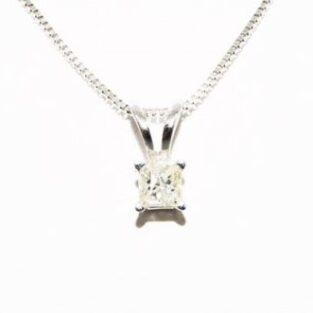 תכשיט לכלה ולערב: תליון ושרשרת זהב לבן בשיבוץ יהלום 16. קרט