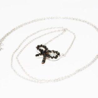 תכשיט לכלה ולערב: שרשרת ותליון זהב לבן בשיבוץ יהלומים שחורים