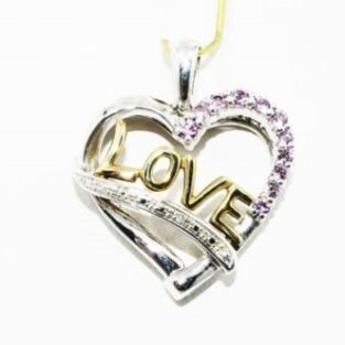 תכשיט לכלה ולערב: תליון זהב צהוב וכסף בשיבוץ יהלומים לבנים וטופז ורוד עיצוב: Love