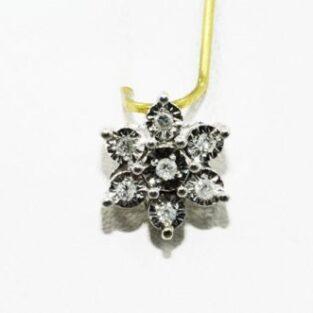 תכשיט לכלה ולערב: תליון זהב לבן 10 קרט בשיבוץ 7 יהלומים לבנים