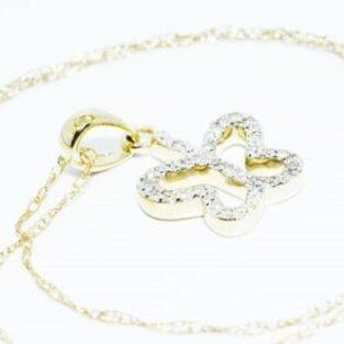 תכשיט לכלה ולערב: שרשרת ותליון זהב צהוב בשיבוץ יהלומים לבנים עיצוב פרפר