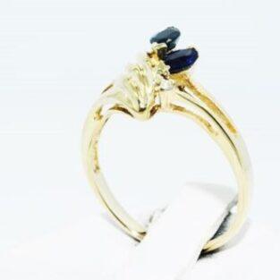תכשיט לכלה ולערב: טבעת זהב צהוב בשיבוץ ספיר כחול ויהלומים מידה: 5.5