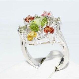 תכשיט לכלה ולערב: טבעת יוקרה כסף בשיבוץ ספיר, פרידות וטופז לבן מידה: 5