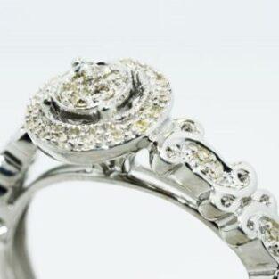 תכשיט לכלה ולערב: טבעת כסף בשיבוץ יהלומים לבנים מידה: 7.25